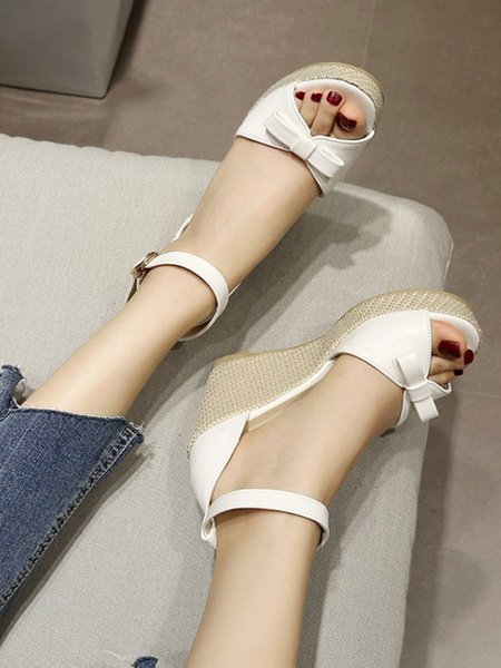 Milanoo Sweet Lolita Sandals Wedge Bows PU Leather Round Toe Lolita Summer Shoes