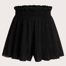 Plus Ruffle Trim Pleated Shorts