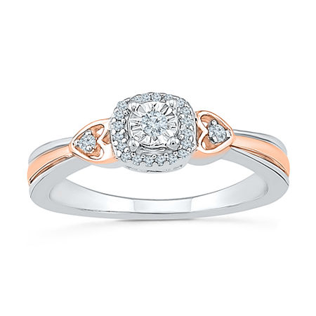 Promise My Love Womens 1/10 CT. T.W. Genuine White Diamond 10K Gold Over Silver Promise Ring, 4 , No Color Family