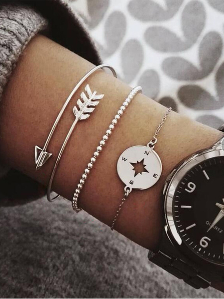 Yoins Silver Alloy Arrow Guide Bead Chain Bracelet