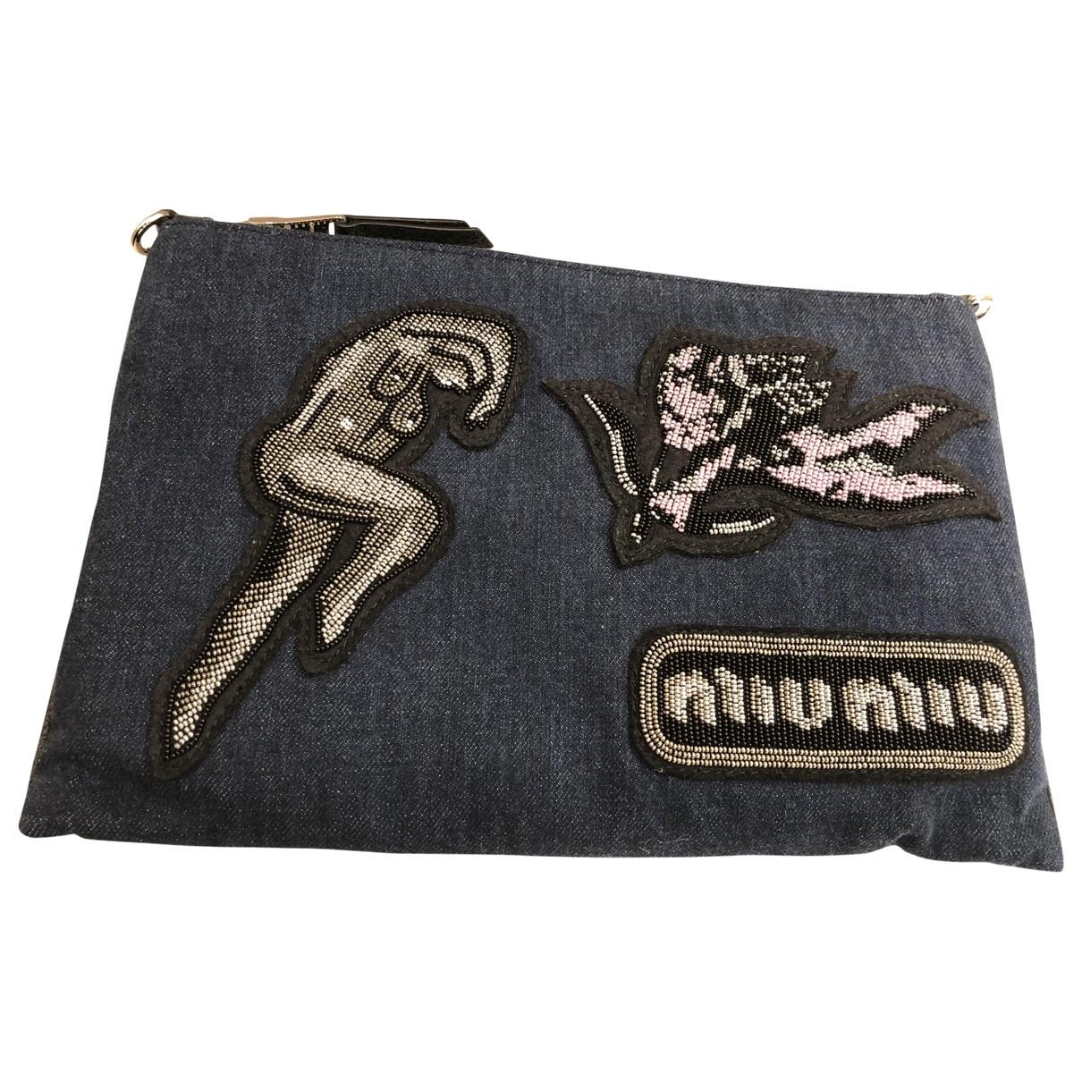 Miu Miu \N Clutch in  Marine Denim - Jeans