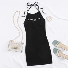 Paris Graphic Halter Bodycon Mini Dress