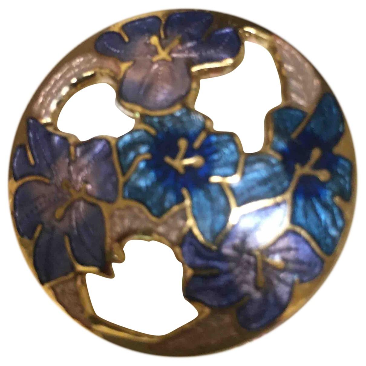 Non Signe / Unsigned Motifs Floraux Brosche in  Blau Vergoldet