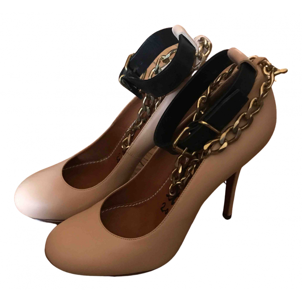 Lanvin N Beige Leather Heels for Women 37.5 EU