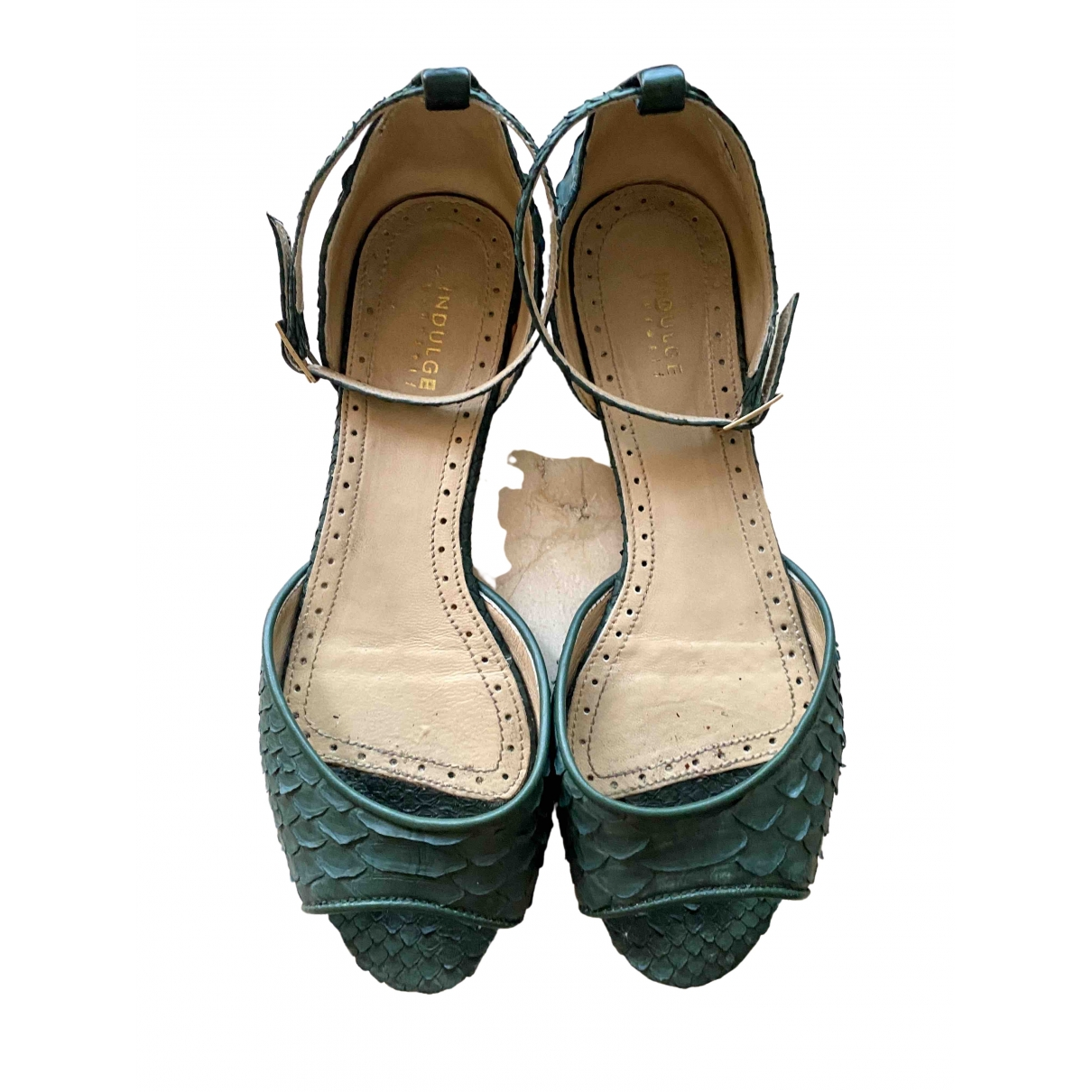 Non Signé / Unsigned \N Green Python Sandals for Women 39 EU