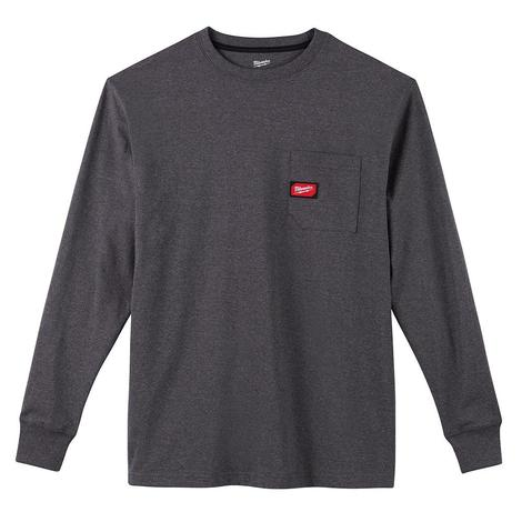 Milwaukee Heavy Duty Pocket T-Shirt - Long Sleeve - Gray S