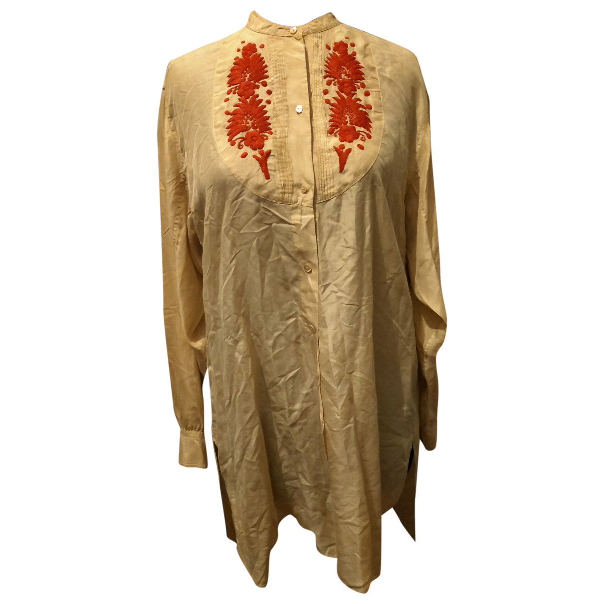 Non Signé / Unsigned \N Beige Silk  top for Women 40 FR