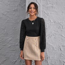 Lace Lantern Sleeve Crop Top