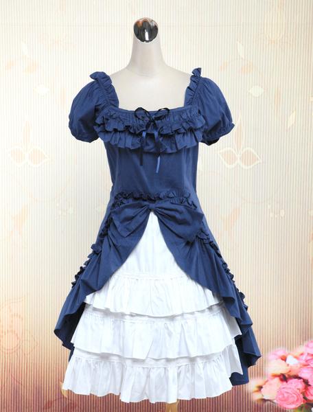 Milanoo Vestido de Lolita de algodon con manga corta y capas