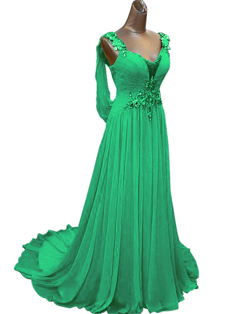 Ericdress Straps Pleats Beading Low Back Prom Dress