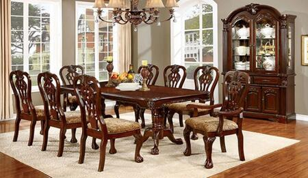 Elana Collection CM3212T6SC2ACHB 10-Piece Dining Room Set with Rectangular Table  6 Side Chairs  2 Arm Chairs and Hutch with Buffet in Brown Cherry