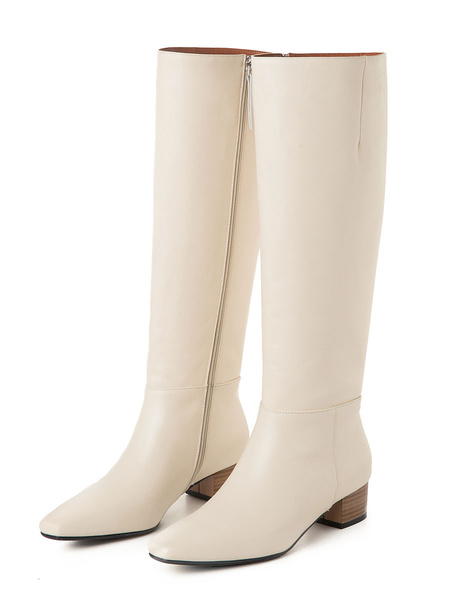 Milanoo Knee High Boots Womens Solid Color Cowhide Square Toe Puppy Heel Daily Casual Boots