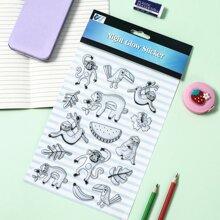 1sheet Sloth Pattern Luminous Sticker