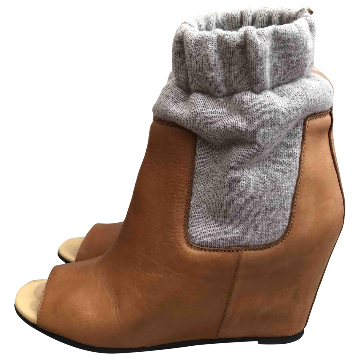 Mm6 \N Camel Leather Ankle boots for Women 39 EU
