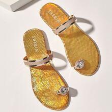 Sandalen mit Zehenpfosten und Strass Dekor