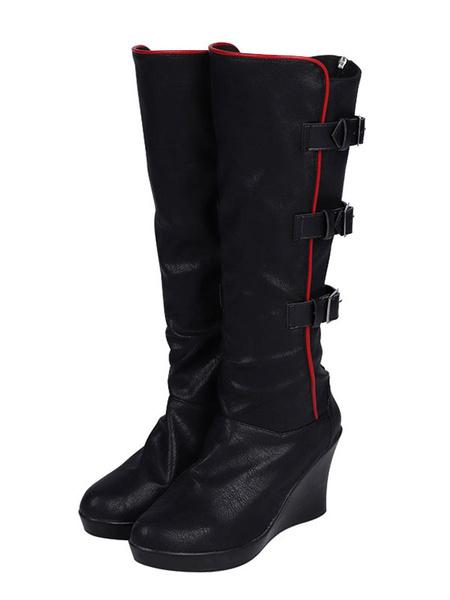 Milanoo Batwoman Cosplay Footwear Black PU Leather Cosplay Boots