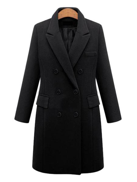 Milanoo Abrigo de mujer Caqui Cuello vuelto Abrigos de invierno de doble botonadura de manga larga
