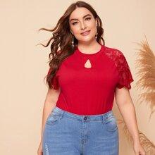 Camisetas de Tallas grandes Encaje en contraste Liso Rojo Elegante