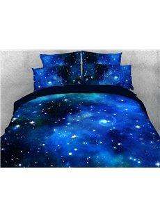 Blue Mysterious Galaxy Soft Warm Duvet Cover Set 4-Piece 3D Galaxy Bedding Set