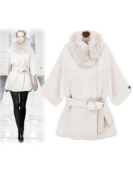 Milanoo Women's White Coat Faux Fur Collar 3/4-Length Sleeve Belted Overcoat