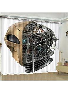 3D Cool Halloween Mechanical Skull Head Printed 2 Panels Decorative Living Room Bedroom Curtain