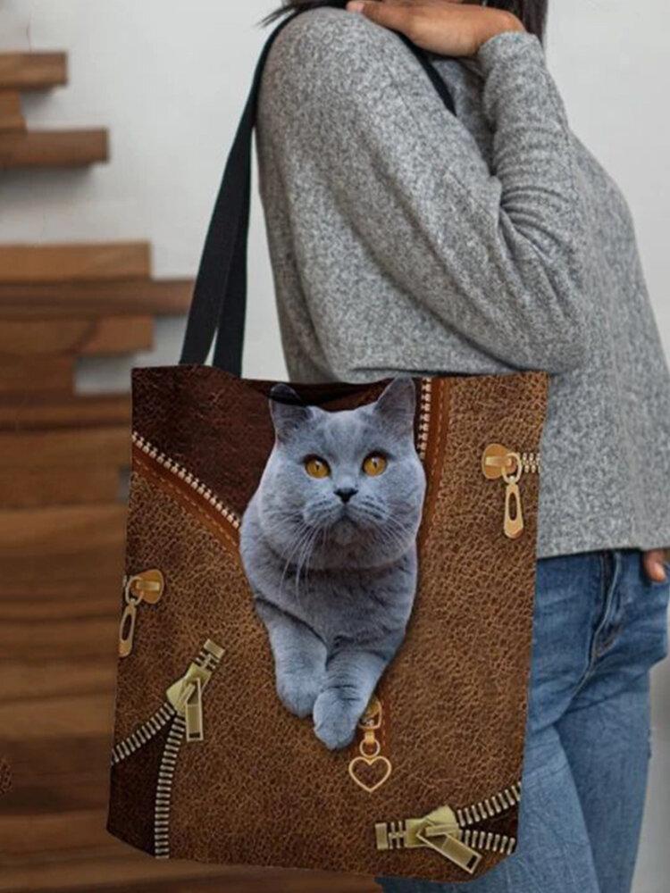 WomenFelt Cute Cat Print Handbag Tote