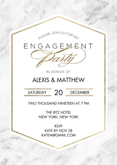 Engagement Party Invitations 5x7 Cards, Premium Cardstock 120lb with Scalloped Corners, Card & Stationery -Engagement Marble