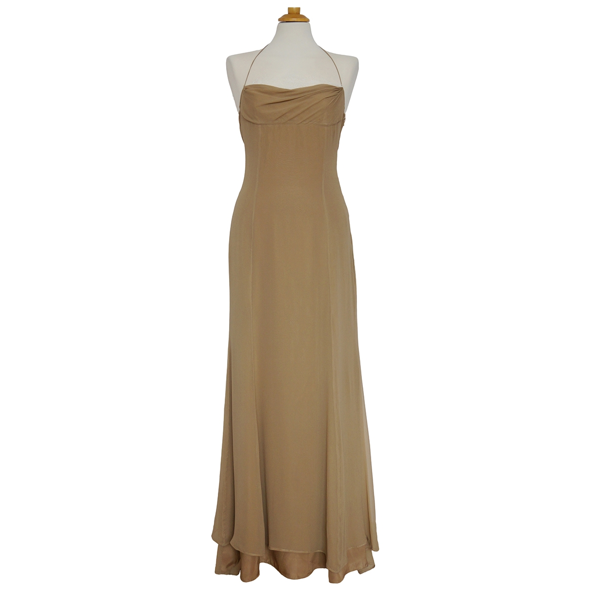 Valentino Garavani \N Beige Silk dress for Women 44 IT
