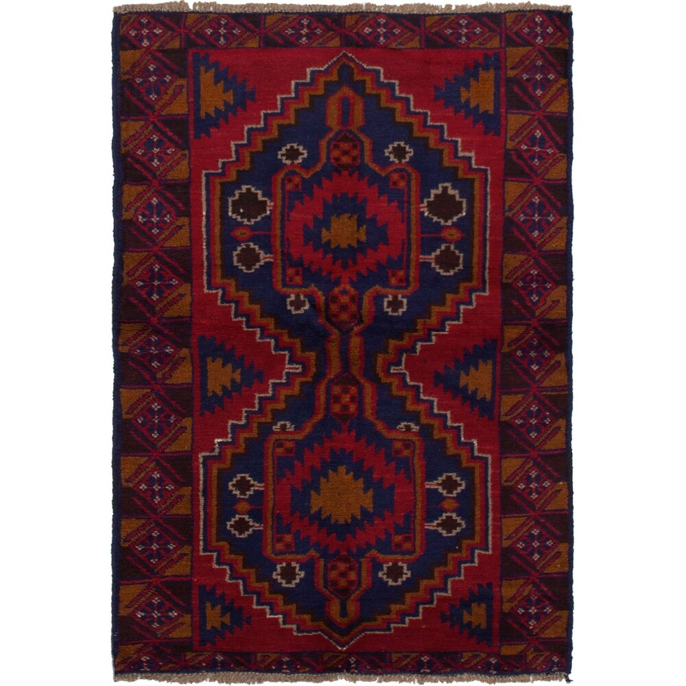 ECARPETGALLERY Hand-knotted Teimani Red Wool Rug - 3'6 x 5'10 (Red - 3'6 x 5'10)