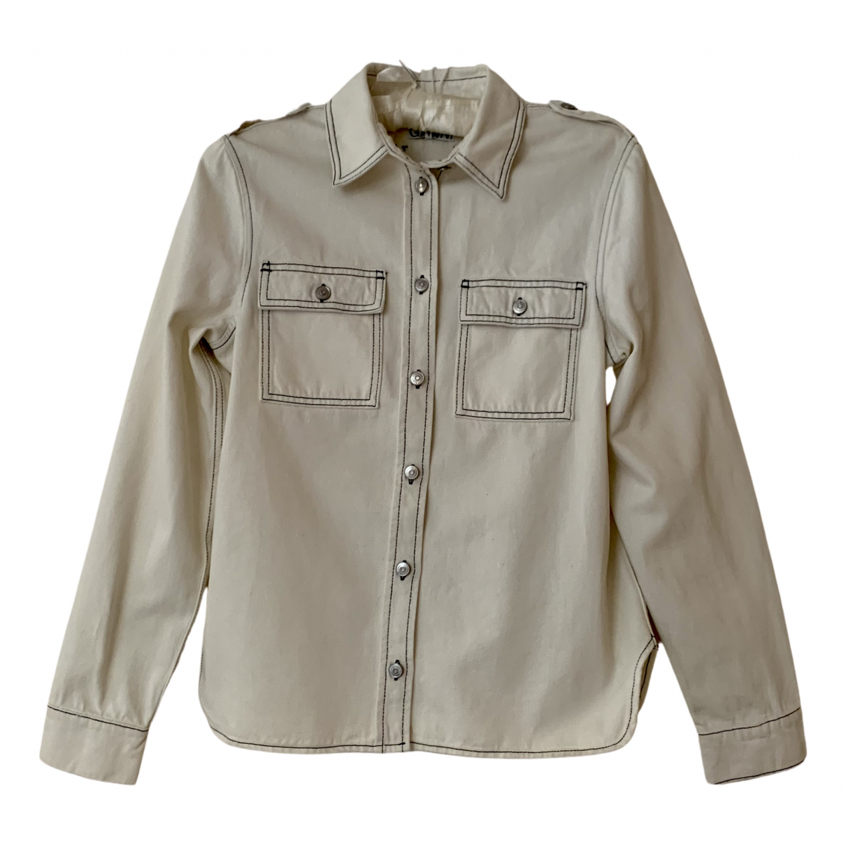 Ganni N White Cotton jacket for Women 8 UK
