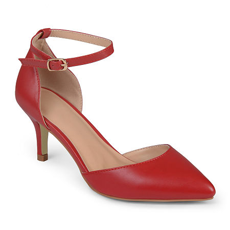 Journee Collection Womens Ike Ankle-Strap Pumps, 8 1/2 Medium, Red