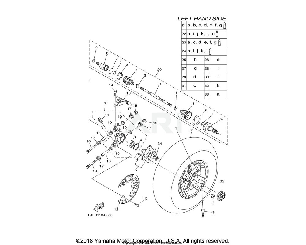 Yamaha OEM 2UD-2518E-10-00 SHAFT