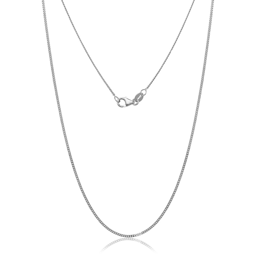 10k White Gold Gourmette Chain Necklace (18-inch)