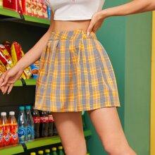 Tartan Plaid Slit Hem Pleated Skirt