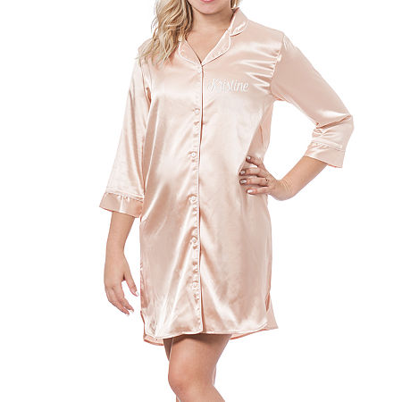 Cathy's Concepts Personalized Womens Satin Nightshirt, Large-x-large , Pink