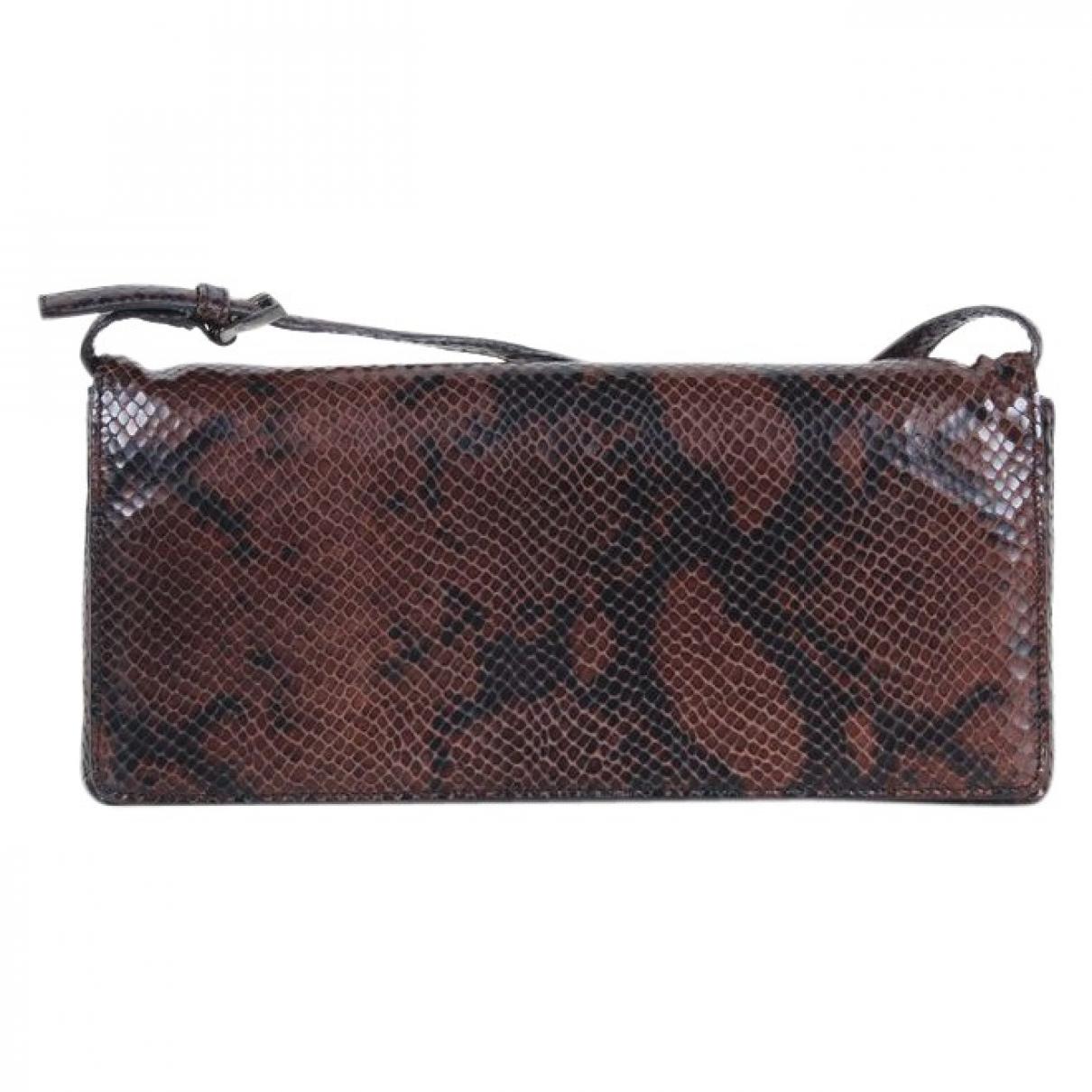 Calvin Klein Collection - Pochette   pour femme en serpent deau - marron
