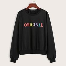 Plus Letter Graphic Drop Shoulder Sweatshirt