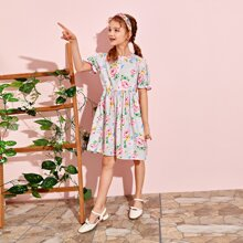 Girls Ruffle Cuff Floral Print Dress