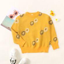 Pullover mit Blumen Muster und rundem Kragen