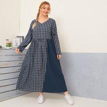Maxi Babydoll Kleid mit Karo Muster und V-Kragen
