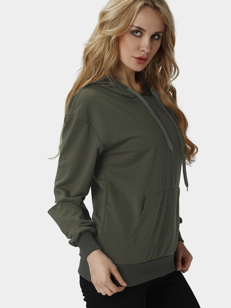 Yoins Plain Army Green Color Hooded Long Holes Sleeves Sweatshirt