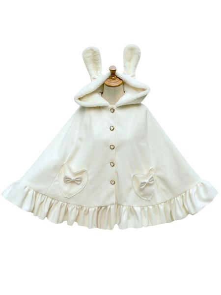 Milanoo Sweet Lolita Poncho Wool White Hooded Bunny Ruffles Winter Cape Coat