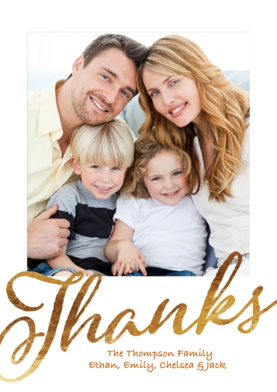 Thank You Cards Flat Glossy Photo Paper Cards with Envelopes, 5x7, Card & Stationery -Thank You Gold