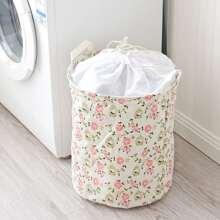 Flower Print Clothes Storage Basket
