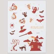 1 Blatt Tattoo Aufkleber mit Halloween Muster