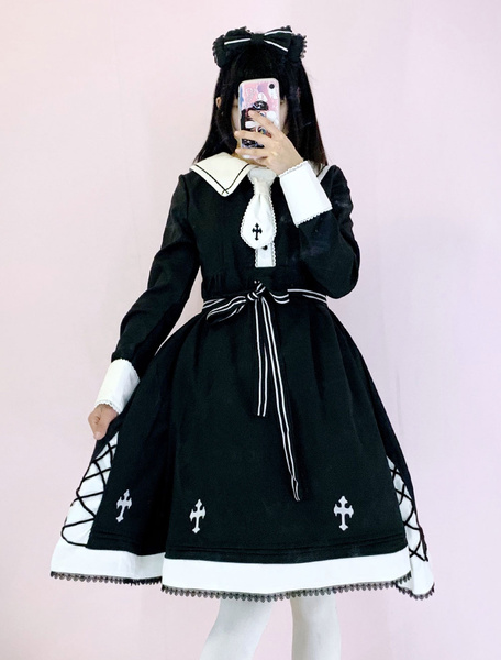 Milanoo Gothic Lolita OP Dress Cross Embroidered Lace Black Lolita One Piece Dress