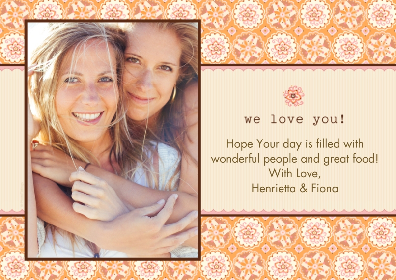 Mother's Day Cards 5x7 Cards, Premium Cardstock 120lb with Rounded Corners, Card & Stationery -We Love You Orange Floral