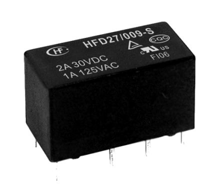 Hongfa Europe GMBH , 12V dc Coil Non-Latching Relay DPDT, 2A Switching Current PCB Mount, 2 Pole (5)