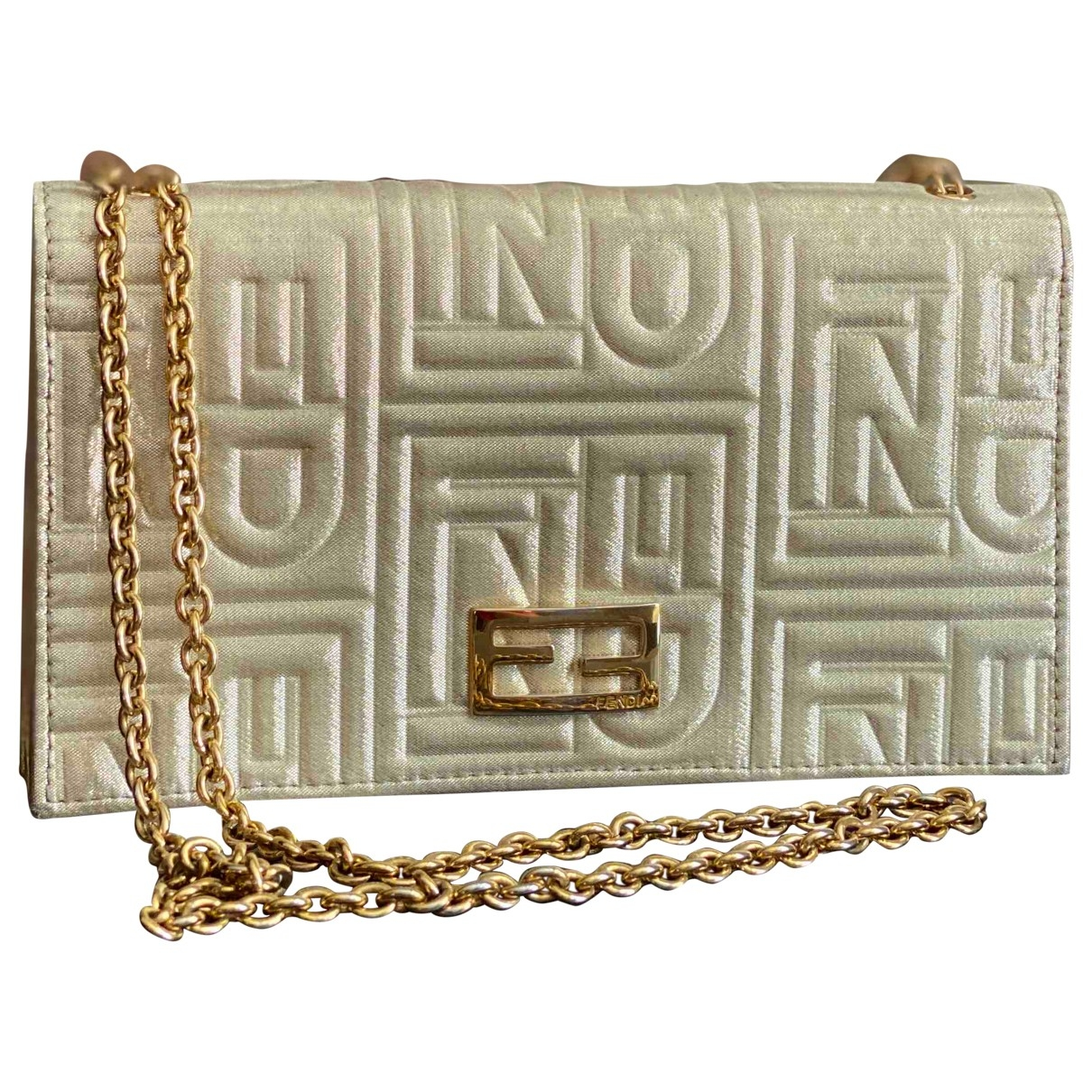 Fendi \N Clutch in  Gold Leinen