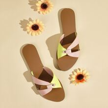 Color Block Slide Sandals